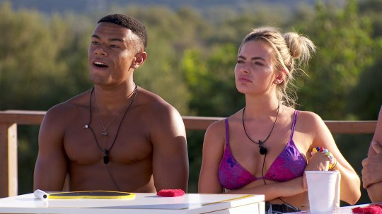 From ITV Studios Love Island: SR4: Ep40 on ITV2 Pictured: Wes and Megan during the Twitter challenge. This photograph is (C) ITV Plc and can only be reproduced for editorial purposes directly in connection with the programme or event mentioned above, or ITV plc. Once made available by ITV plc Picture Desk, this photograph can be reproduced once only up until the transmission [TX] date and no reproduction fee will be charged. Any subsequent usage may incur a fee. This photograph must not be manipulated [excluding basic cropping] in a manner which alters the visual appearance of the person photographed deemed detrimental or inappropriate by ITV plc Picture Desk. This photograph must not be syndicated to any other company, publication or website, or permanently archived, without the express written permission of ITV Plc Picture Desk. Full Terms and conditions are available on the website www.itvpictures.co.uk For further information please contact: james.hilder@itv.com / 0207 157 3052