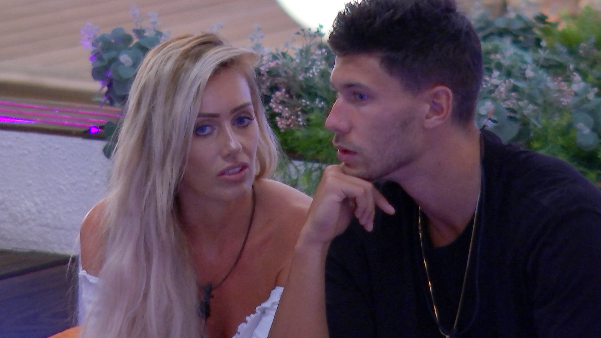 From ITV Studios Love Island: SR4: Ep40 on ITV2 Pictured: Laura chats to Jack about Laura. This photograph is (C) ITV Plc and can only be reproduced for editorial purposes directly in connection with the programme or event mentioned above, or ITV plc. Once made available by ITV plc Picture Desk, this photograph can be reproduced once only up until the transmission [TX] date and no reproduction fee will be charged. Any subsequent usage may incur a fee. This photograph must not be manipulated [excluding basic cropping] in a manner which alters the visual appearance of the person photographed deemed detrimental or inappropriate by ITV plc Picture Desk. This photograph must not be syndicated to any other company, publication or website, or permanently archived, without the express written permission of ITV Plc Picture Desk. Full Terms and conditions are available on the website www.itvpictures.co.uk For further information please contact: james.hilder@itv.com / 0207 157 3052