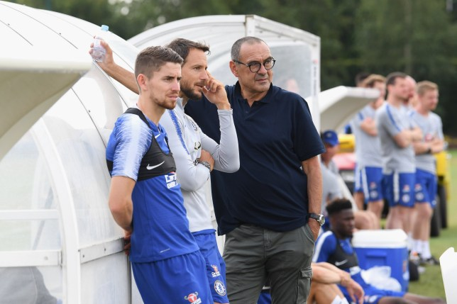 COBHAM, ENGLAND - JULY 14: Maurizio Sarri of Chelsea with Carlo Cudicini and Jorginho during a training session at Chelsea Training Ground on July 14, 2018 in Cobham, England. (Photo by Darren Walsh/Chelsea FC via Getty Images)