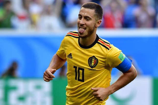 TOPSHOT - Belgium's forward Eden Hazard sticks his tongue out as he celebrates after scoring their second goal during their Russia 2018 World Cup play-off for third place football match between Belgium and England at the Saint Petersburg Stadium in Saint Petersburg on July 14, 2018. / AFP PHOTO / Giuseppe CACACE / RESTRICTED TO EDITORIAL USE - NO MOBILE PUSH ALERTS/DOWNLOADS GIUSEPPE CACACE/AFP/Getty Images
