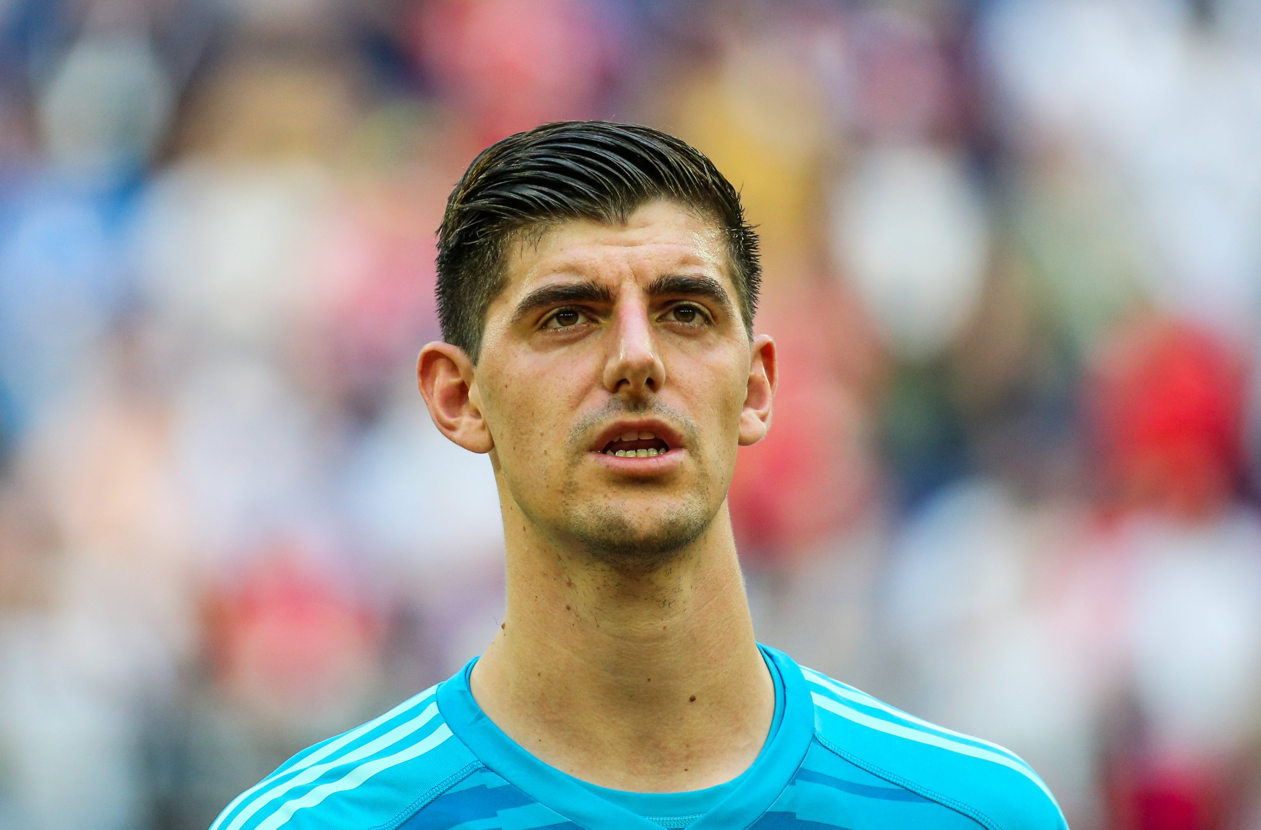 ST PETERSBURG, RUSSIA - JULY 14, 2018: Belgium's goalkeeper Thibaut Courtois sings the Belgian national anthem ahead of the 2018 FIFA World Cup Play-off for third place match against England at St Petersburg Stadium. Belgium won the game 2-0. Peter Kovalev/TASS (Photo by Peter Kovalev\TASS via Getty Images)