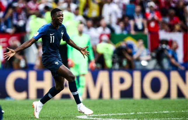 MOSCOW, RUSSIA - JULY 15, 2018: France's Ousmane Dembele celebrates victory in the 2018 FIFA World Cup Final match between France and Croatia at Luzhniki Stadium. Valery Sharifulin/TASS