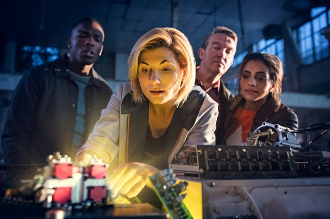 WARNING: Embargoed for publication until 00:00:01 on 17/07/2018 - Programme Name: Doctor Who Series 11 - TX: n/a - Episode: July Preview (No. n/a) - Picture Shows: **Strictly Embargoed until 17/07/2018 00:00:01** Ryan (TOSIN COLE), The Doctor (JODIE WHITTAKER), Graham (BRADLEY WALSH), Yaz (MANDIP GILL) - (C) BBC / BBC Studios - Photographer: Sophie Mutevelian