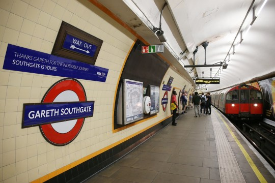 LONDON, ENGLAND - JULY 16: Southgate Underground tube station on the Piccadilly Line in Enfield has been rebranded with Gareth Southgate's name by TFL on July 16, 2018 in London, England. (Photo by Neil P. Mockford/Getty Images)