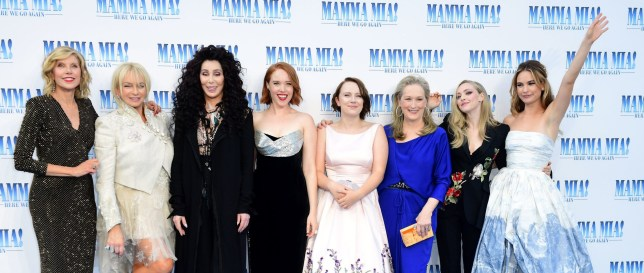 Christine Baranski, Judy Craymer, Cher, Jessica Keenan Wynn, Alexa Davies, Meryl Streep, Amanda Seyfried and Lily James attending the premiere of Mamma Mia! Here We Go Again held at the Eventim Hammersmith Apollo, London. PRESS ASSOCIATION Photo. Picture date: Monday July 16, 2018. See PA story SHOWBIZ MammaMia. Photo credit should read: Ian West/PA Wire