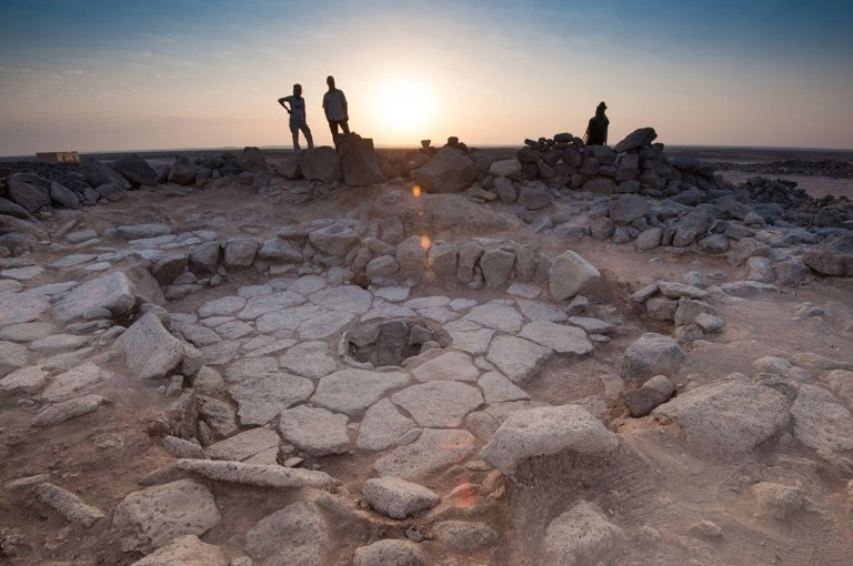 REFILE - ADDING RESTRICTION A stone structure at an archeological site containing a fireplace, seen in the middle, where charred remains of 14,500-year-old bread was found in the Black Desert, in northeastern Jordan in this photo provided July 16, 2018. Alexis Pantos/Handout via REUTERS ATTENTION EDITORS - THIS IMAGE WAS PROVIDED BY A THIRD PARTY. NO RESALES. NO ARCHIVES. MANDATORY CREDIT.