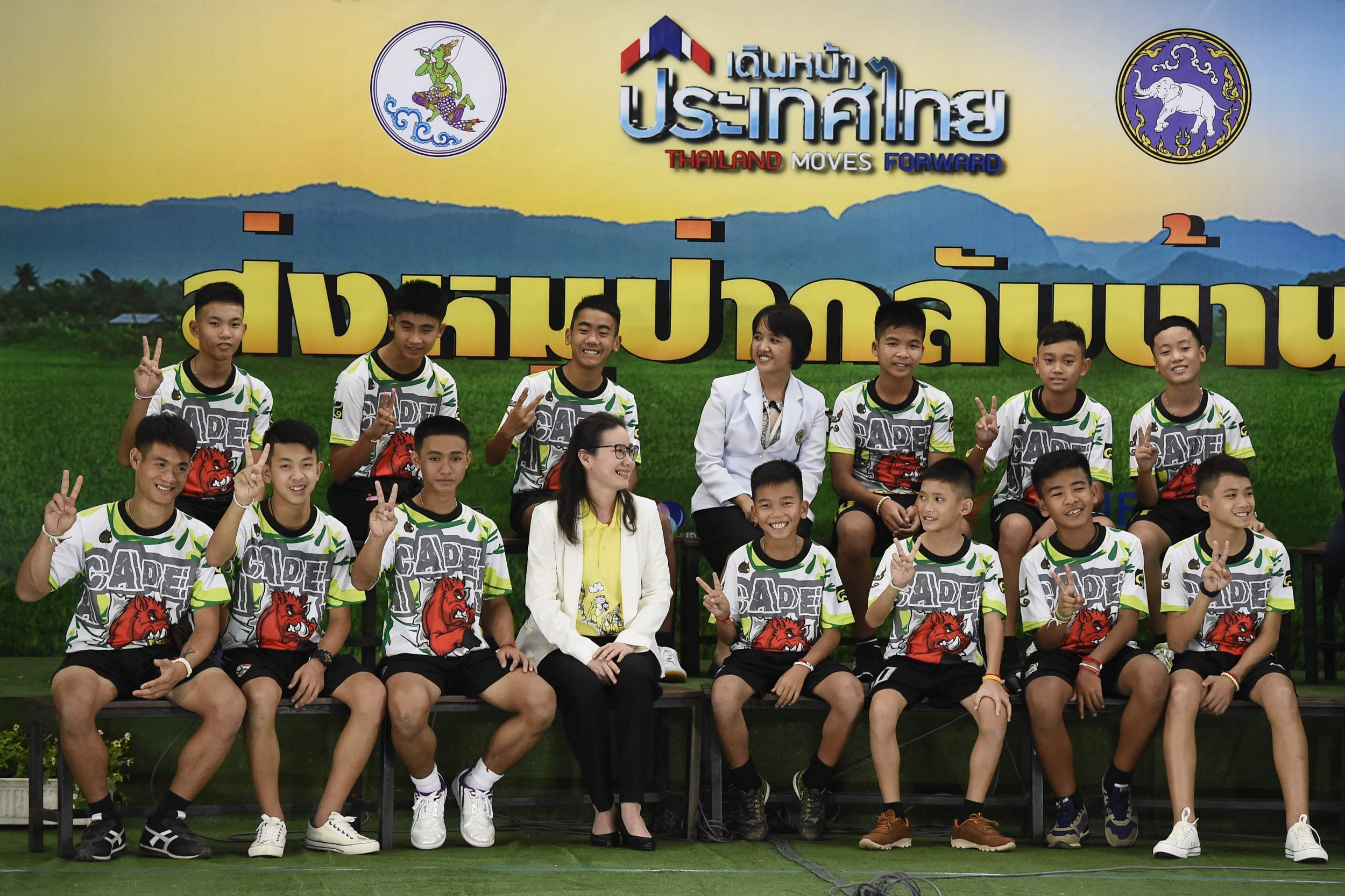 Football team trapped in Thai cave for two weeks are finally let out of hospital