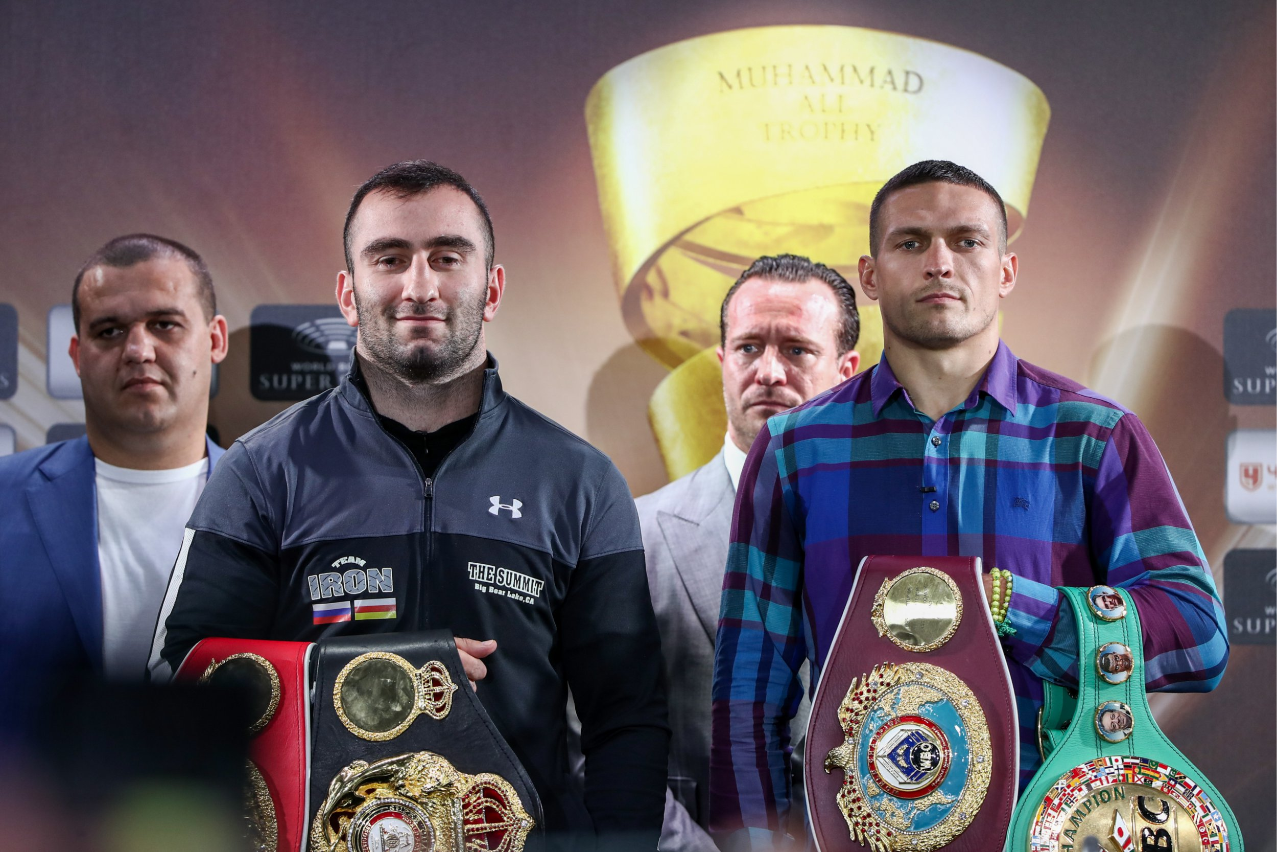 MOSCOW, RUSSIA JULY 19, 2018: Umar Kremlyov, Secretary General of the Russian Boxing Federation, Russian boxer Murat Gassiev, Kalle Sauerland, Chief Boxing Officer for Comosa AG, and Ukrainian boxer Oleksandr Usyk (L-R) at a news conference on the upcoming 2017/18 World Boxing Super Series cruiserweight final between Murat Gassiev and Oleksandr Usyk for the WBC, WBO, WBA, and IBF titles. Valery Sharifulin/TASS (Photo by Valery Sharifulin\TASS via Getty Images)