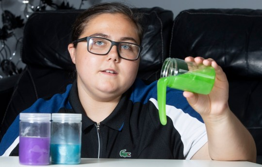 Sixteen-year-old Jessica Moreland from Newcastle who became ill after making slime for her cousins. See SWNS story SWSLIME; A teenager has issued a warning after she was ill for more than a month - due to toxic levels of chemicals in her homemade SLIME. Jessica Moreland, 16, joined the craze of kids cooking up slime using online recipes, spending up to three hours a day in her garden shed making pots of sticky goo. But after suffering with a cough for weeks, her grandmother Sharon, 52, took her to the doctors who said it was a reaction to borax - one of the chemicals kids use in slime. The teenager immediately stopped - but was left suffering with nausea, sickness, lung irritation, dizziness and headaches for around three more weeks.