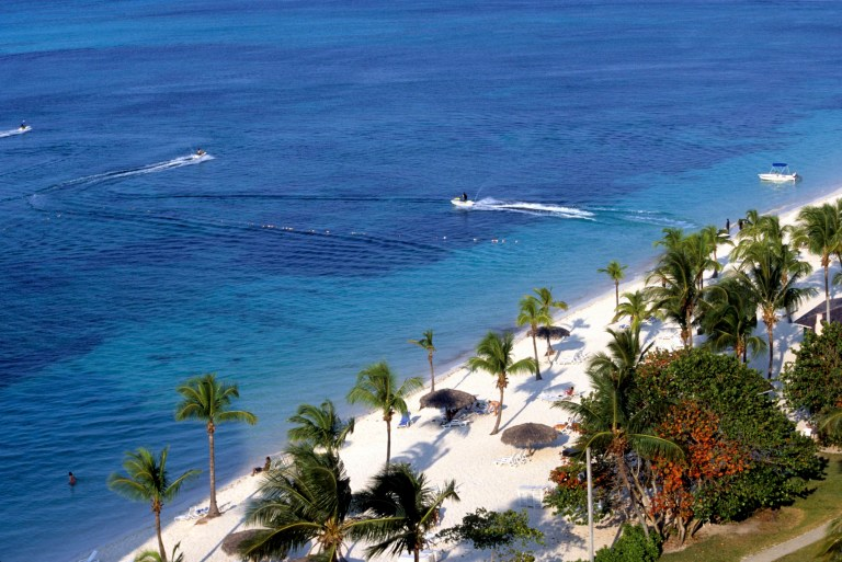 Elevated View of Cable beach, Nassau, Bahamas.