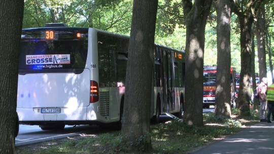 A public service bus stands in Kuecknitz near Luebecknorthern Germany, after several people were injured in the bus in an assault by a man wielding a knife on July 20, 2018. The packed bus was heading in the direction of Travemuende, a popular beach close to the city of Luebeck, when a man pulled a weapon on passengers, local media Luebecker Nachrichten reported, quoting an unnamed witness. / AFP PHOTO / dpa / - / Germany OUT-/AFP/Getty Images