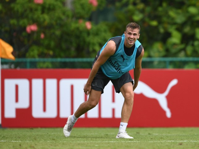 SINGAPORE - JULY 24: Rob Holding of Arsenal during a training session at Singapore American School on July 24, 2018 in Singapore. (Photo by Stuart MacFarlane/Arsenal FC via Getty Images)