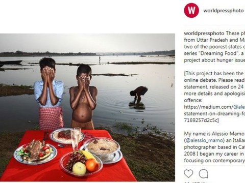 Are these pictures of poor Indian kids posing in front of fake food 'poverty porn'?
