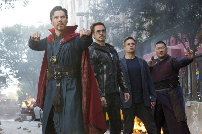 No Merchandising. Editorial Use Only. No Book Cover Usage. Mandatory Credit: Photo by Walt Disney Studios/Moviestore/REX/Shutterstock (9656345d) Benedict Cumberbatch, Robert Downey Jr, Mark Ruffalo, Benedict Wong Avengers Infinity War - 2018