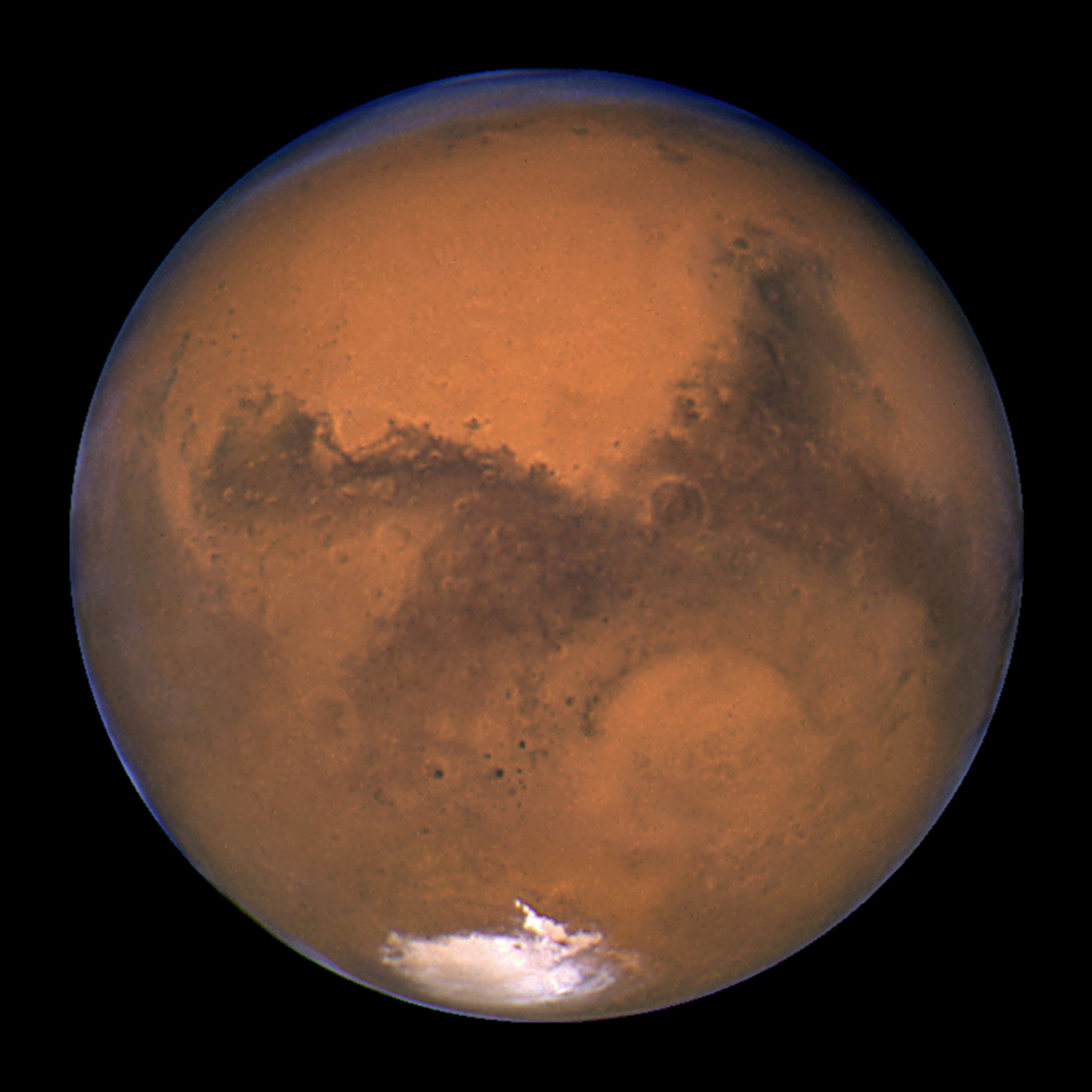 FILE PHOTO: NASA's Hubble Space Telescope took this snapshot of Mars 11 hours before the planet made its closest approach to Earth on August 26, 2003. REUTERS/J. Bell (Cornell U.) and M. Wolff (SSI)/NASA/File Photo