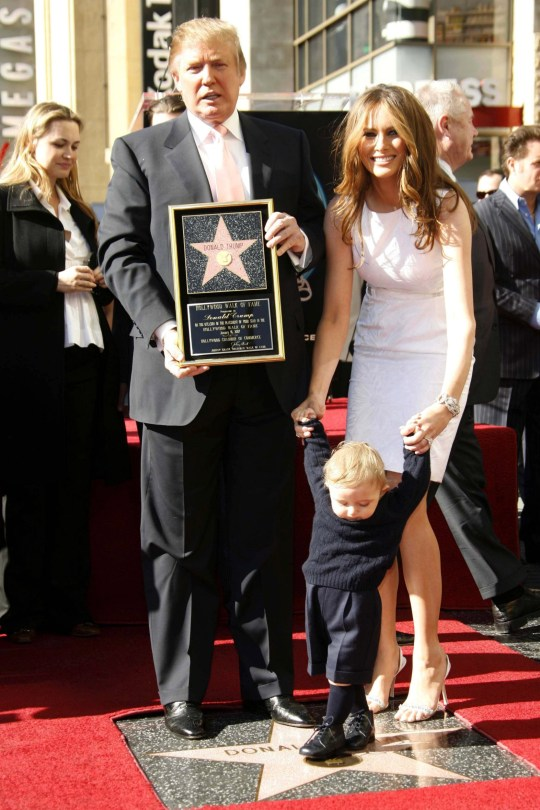 Mandatory Credit: Photo by Peter Brooker/REX/Shutterstock (633108b) Donald Trump, wife Melania and son Barron Donald Trump receiving a star on the Hollywood Walk of Fame, Los Angeles, America - 16 Jan 2007