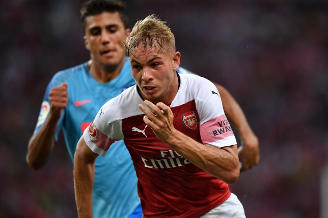 SINGAPORE - JULY 26: Emile Smith Rowe #55 of Arsenal runs during the International Champions Cup 2018 match between Club Atletico de Madrid and Arsenal at the National Stadium on July 26, 2018 in Singapore. (Photo by Thananuwat Srirasant/Getty Images for ICC)