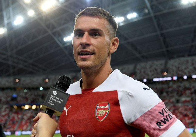 SINGAPORE - JULY 26: Aaron Ramsey of Arsenal after the International Champions Cup 2018 match between Club Atletico de Madrid and Arsenal at the National Stadium on July 26, 2018 in Singapore. (Photo by David Price/Arsenal FC via Getty Images)