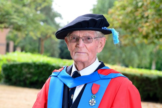 D-day veteran Charles Betty, 95, became Britains oldest graduate after receiving a Phd in Philosophy from Northampton University (26/7) at the Royal Derngate Theatre in Northampton. See NTI story NTIOLD. A D-Day veteran who left school with no qualifications has become Britain???s oldest university student after he was awarded his second PhD ??? AGED 95. Charles Betty is now a Doctor of Philosophy after completing a 28,000-word thesis on why elderly ex-pats living in Spain return to the UK. Mr Betty, who moved to the Costa del Sol in 1986, took five years to complete the long-distance course while also caring for his disabled wife, Eileen, 93. He fly from his home in the Spanish town of Benalmadena to attend his graduation ceremony at the University of Northampton on Thursday (26/7). Mr Betty has three grown-up children, three grandchildren, two great-grandchildren, and is looking forward to his first great-great-grandchild being born in December. Incredibly, Mr Betty ??? who now has two PhDs to his name ??? only started his academic career after he retired from being a school inspector aged 70.