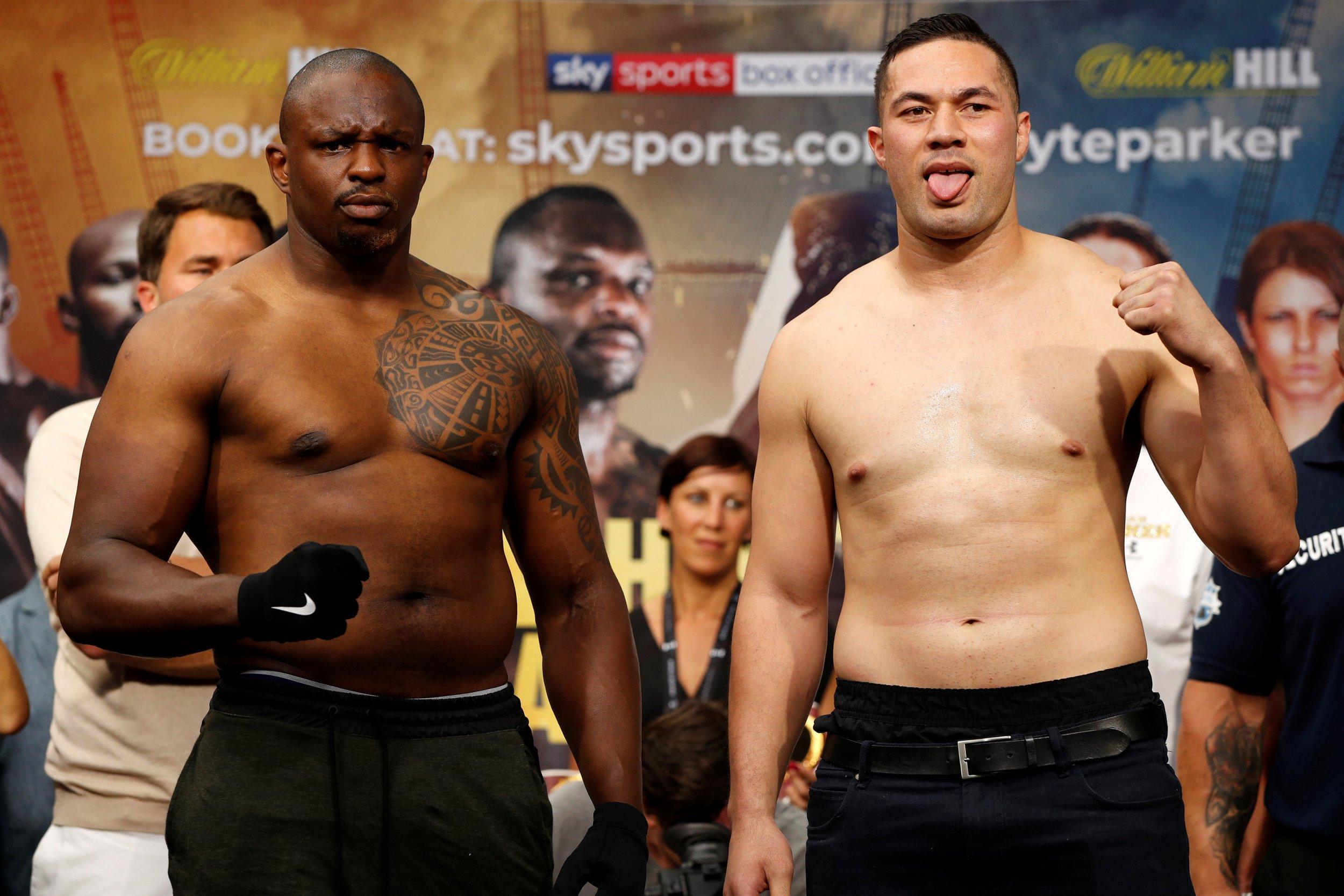 Boxing - Dillian Whyte v Joseph Parker Weigh-In - Spitalfields Market, London, Britain - July 27, 2018 Dillian Whyte and Joseph Parker pose after the Weigh-In Action Images via Reuters/John Sibley