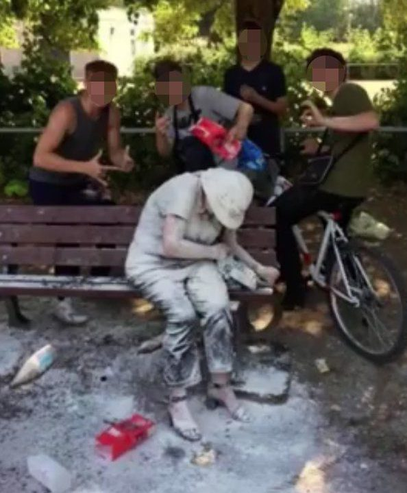 METRO GRAB - taken from the Facebook of Robin Armstrong without permission Disabled woman covered in flour Facebook/Robin Armstrong