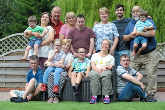 - [left to right] George Bull, 3 , James Patterson, 32, Jenny Bull, 33, Gerald Patterson, 62, Isabel Bull, 6, Alice Patterson, 28, Pam Patterson, 60, David Bull, 35, Riley Patterson, 10, Molly Patterson, 26, Leigh Bull, 61, Matthew Bull, 23, Timothy Bull 28, Roger Bull, 65, Tomas Bull, 3, TRIANGLE NEWS 0203 176 5581 // contact@trianglenews.co.uk By Eleanor Sharples MEET Britain???s most loving family...who have adopted NINE children with Down???s Syndrome. Pam and Gerald Patterson always knew they wanted to help children who were stuck in care. So they adopted four kids with Down???s - James, now 32, Alice, 28, Molly, 26 and Riley, 10. Incredibly, Pam???s brother Roger Bull and his wife Leigh also adopted two kids with the chromosomal disorder, David and Timothy, who are now 35 and 28, and also foster four-year-old Marie.