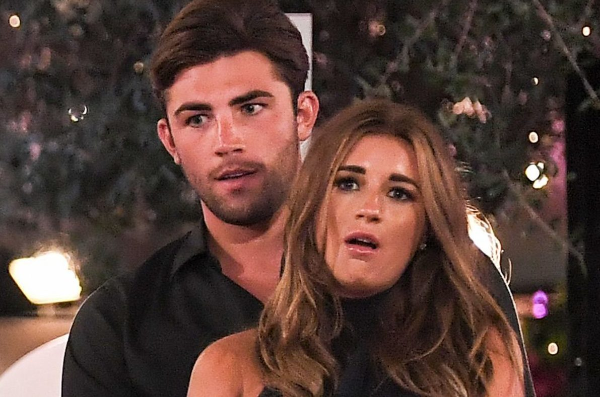 Editorial Use Only. No Merchandising. No Commercial Use Mandatory Credit: Photo by James Gourley/ITV/REX/Shutterstock (9773969gp) Dani Dyer and Jack Fincham celebrate victory 'Love Island' TV Show, Series 4, Episode 57, The Final, Majorca, Spain - 30 Jul 2018