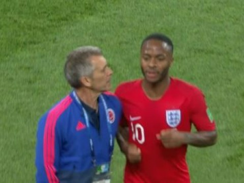 Raheem Sterling clashes with Colombia's assistant coach during half time of World Cup last 16 tie