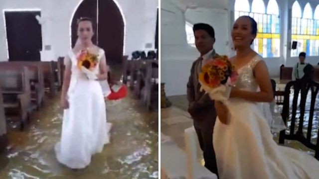 Bride walks up the aisle in floodwater from monsoon in Philippines