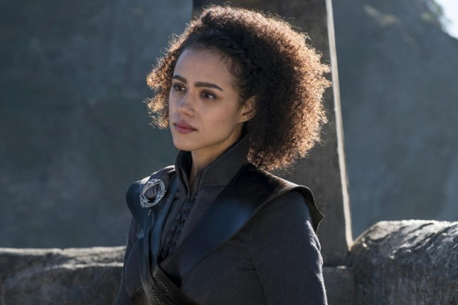 Missandei (Nathalie Emmanual) dressed in black clothes during Game of Thrones season 8