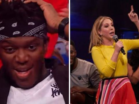 KSI's reaction to Katherine Ryan's x-rated rap about white mums is priceless