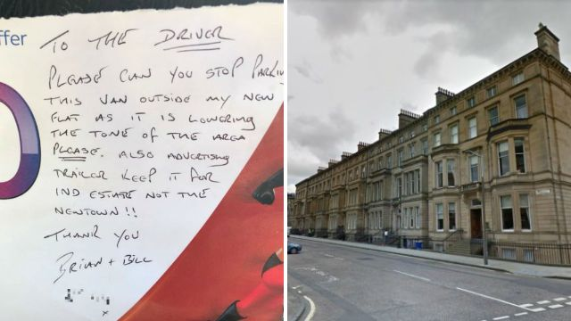 'Snobs' leave note on volunteer's van saying it 'lowers the tone' of the area