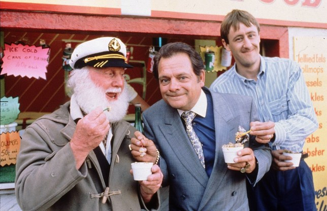ONLY FOOLS & HORSES. (l-r) Uncle Albert (Buster Merryfield), Del Boy (SIR DAVID JASON) and Rodney (Nicholas Lyndhurst) Further info from the Living Press Office on 0171 299 5000...ONLY FOOLS & HORSES 1 QUALITY: 2nd Generation... David Jason KB 6/2005
