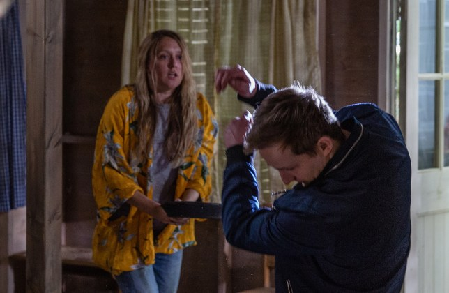Rebecca attacks Lachlan in Emmerdale