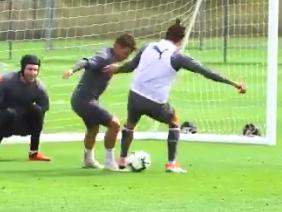 Lucas Torreira nutmegs Hector Bellerin after goal-saving block in Arsenal training