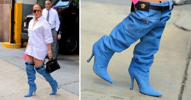 d4485264 Jennifer Lopez doesn't wear the pants as she wears interesting jeans ...
