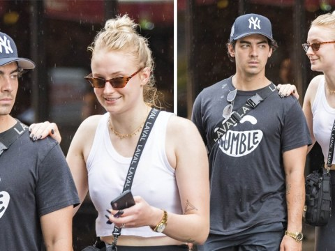 Sophie Turner and Joe Jonas get caught in the rain, still manage to look fabulous