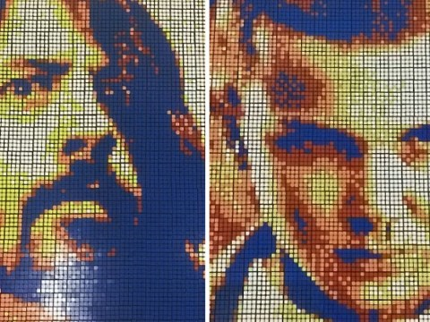 Cubist-inspired artist makes celeb portraits from Rubik's Cubes