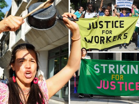 Cleaners at the Ministry of Justice go on strike for the London living wage