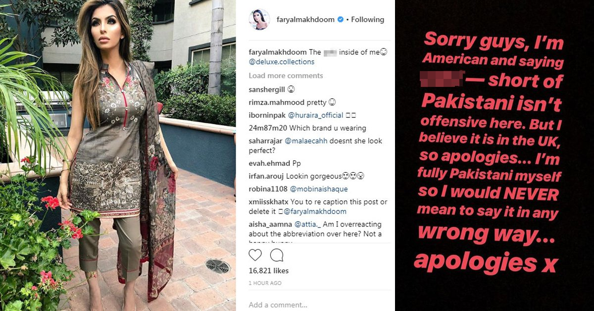 Faryal Makhdoom uses racial slur against herself