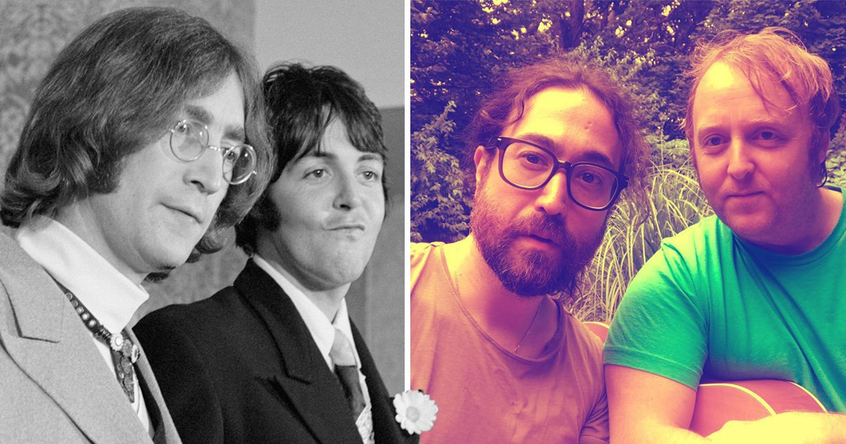 Lennon and McCartney come together again in rare photo of their lookalike sons as Beatles fans marvel at the resemblance
