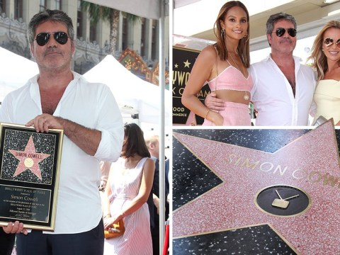 Simon Cowell surrounded by the stars he discovered during Hollywood Walk Of Fame ceremony