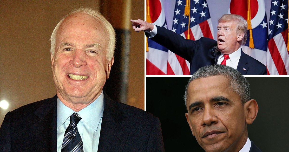 Donald Trump and Barack Obama lead tributes to John McCain