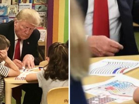 Donald Trump used the wrong colour while drawing the American flag