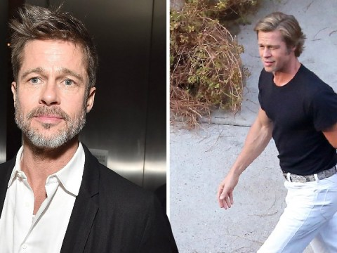 Brad Pitt is a 60s dream as he struts through Once Upon a Time In Hollywood set