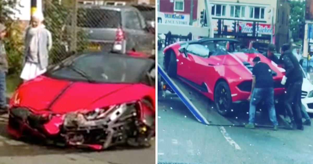 Lamborghini worth £180,000 written-off after driver crashes into electric box