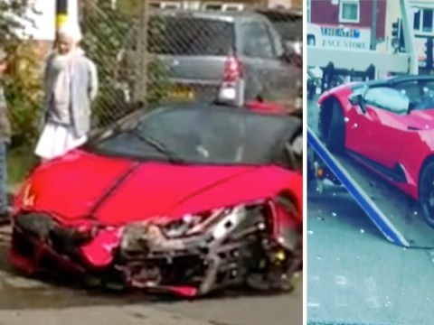 Lamborghini worth £180,000 written-off after driver crashes into electric box