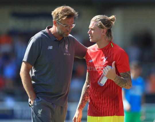 """Liverpool's Loris Karius (right) speaks with manager Jurgen Klopp during the pre-season friendly match at the Deva Stadium, Chester. PRESS ASSOCIATION Photo. Picture date: Saturday July 7, 2018. See PA story SOCCER Chester. Photo credit should read: Mike Egerton/PA Wire. RESTRICTIONS: EDITORIAL USE ONLY No use with unauthorised audio, video, data, fixture lists, club/league logos or """"live"""" services. Online in-match use limited to 75 images, no video emulation. No use in betting, games or single club/league/player publications."""
