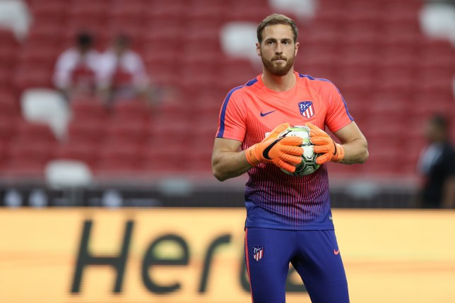 SINGAPORE, SINGAPORE - JULY 26: Jan Oblak #13 of Club Atletico de Madrid in action during the International Champions Cup 2018 match between Club Atletico de Madrid and Arsenal at the National Stadium on July 26, 2018 in Singapore. (Photo by Pakawich Damrongkiattisak/Getty Images)
