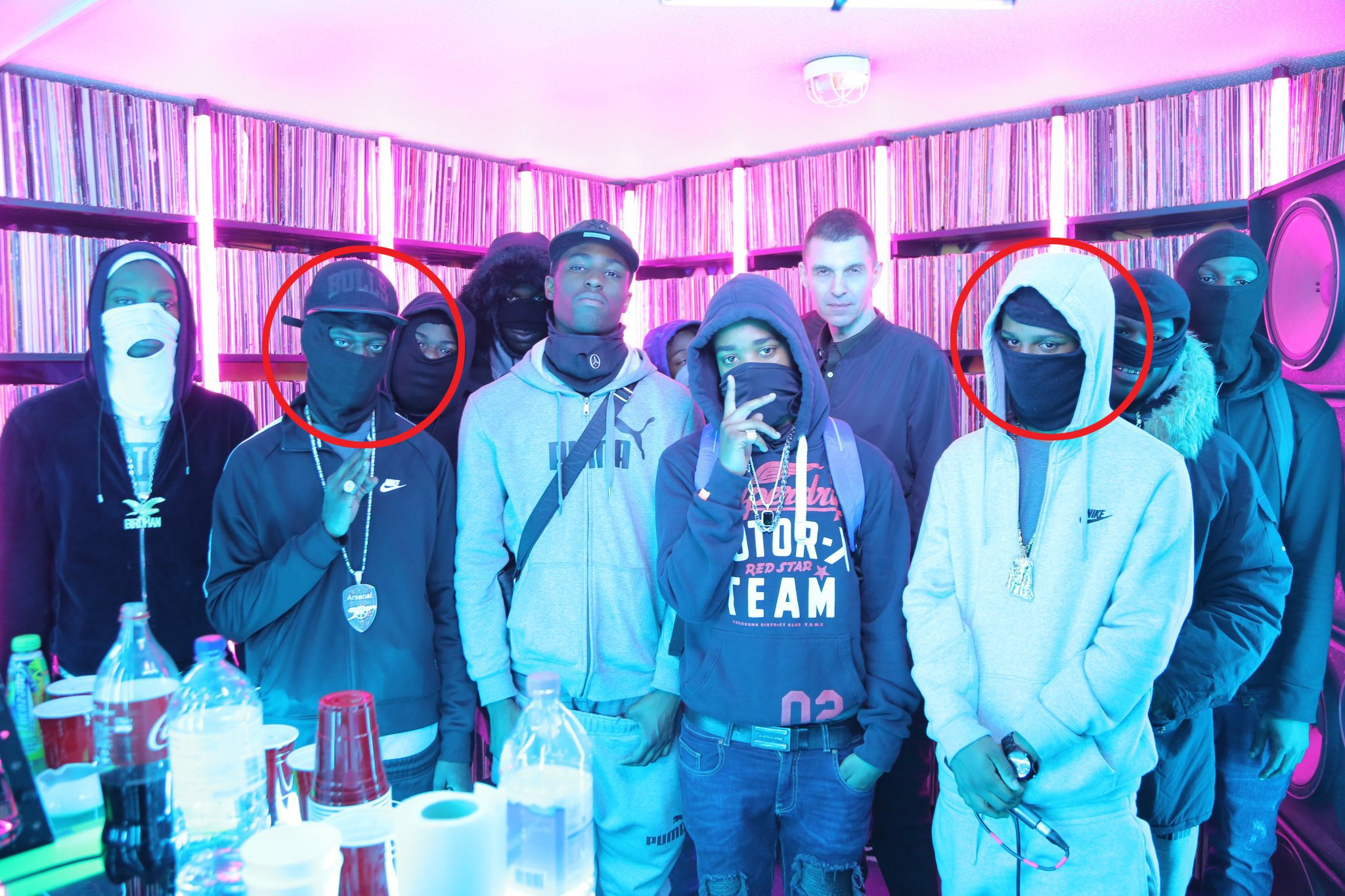 Incognito, circled left, appeared with his fellow band mates Moscow17 - which included his friend Rhyhiem Ainsworth Barton, circled right, who was shot dead in May, on Radio 1 DJ Tim Westwood's YouTube channel, Mr Westwood is pictured rear